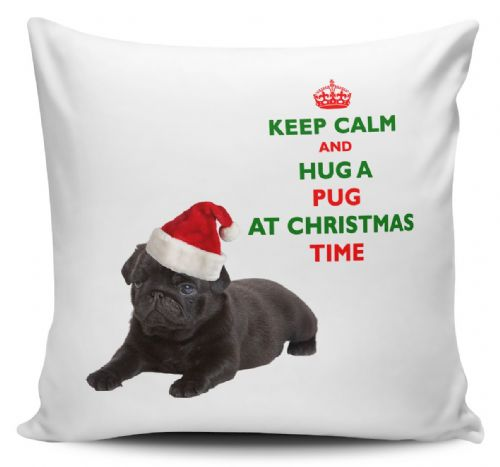 Christmas Keep Calm And Hug A Pug (Black) Novelty Cushion Cover